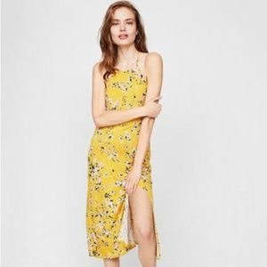 Express floral high neck fitted dress - XS